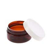 2 oz Amber Shallow Jar with White Gloss Flat Cap