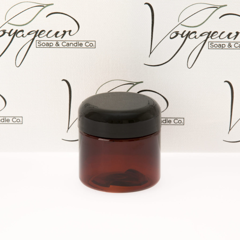 2 oz Amber Straight Sided Jar with Black Dome Cap
