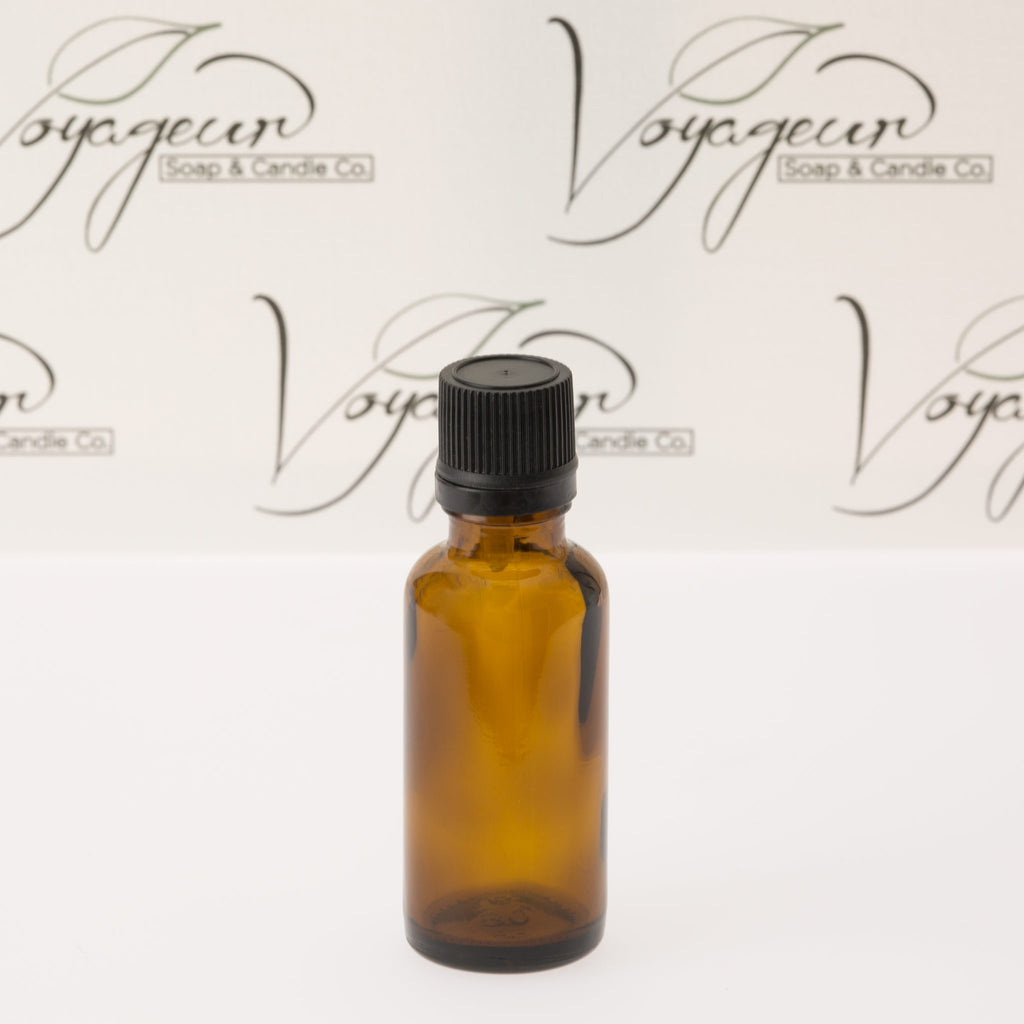 30 ml Amber Essential Oil Bottle with Black Dropper Cap