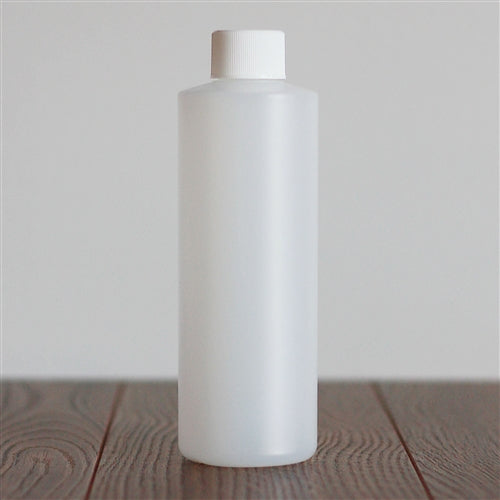 250 ml Natural HDPE Cylinder with White Rib Cap