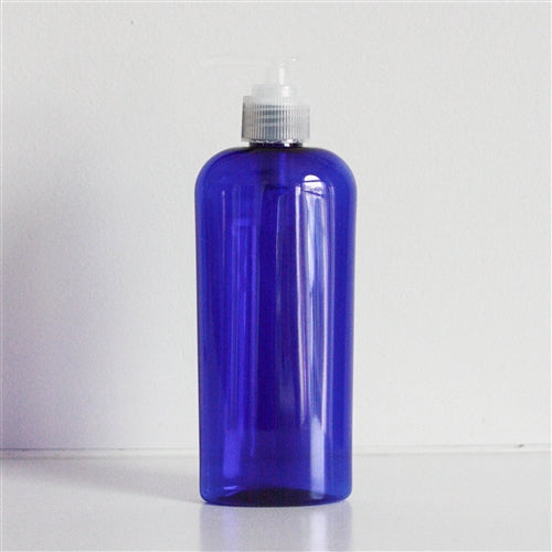 8 oz Blue PET Cosmo Oval with Pump - Natural