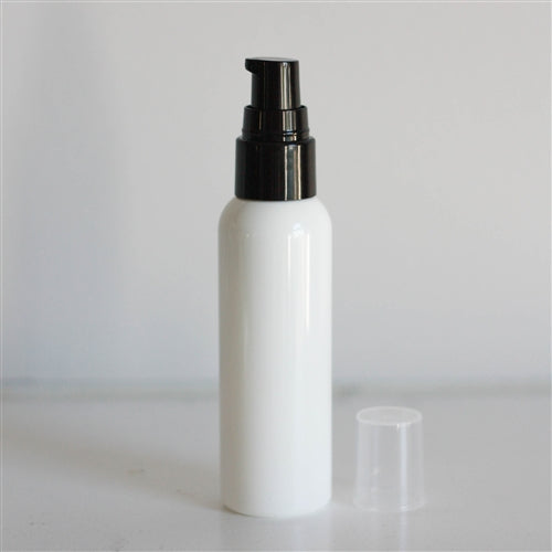 2 oz White Bullet Bottle with Treatment Pump - Black