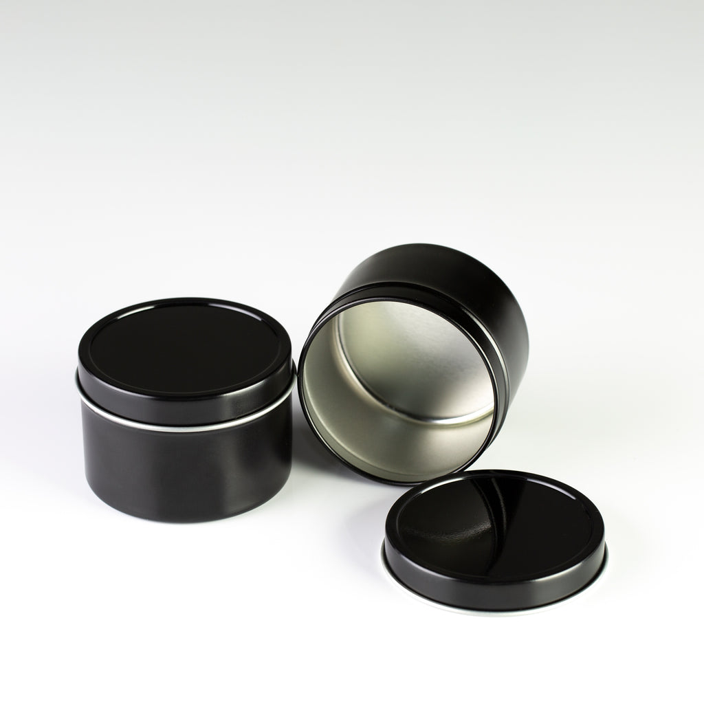 Black Deep Seamless Metal Tins / 4oz