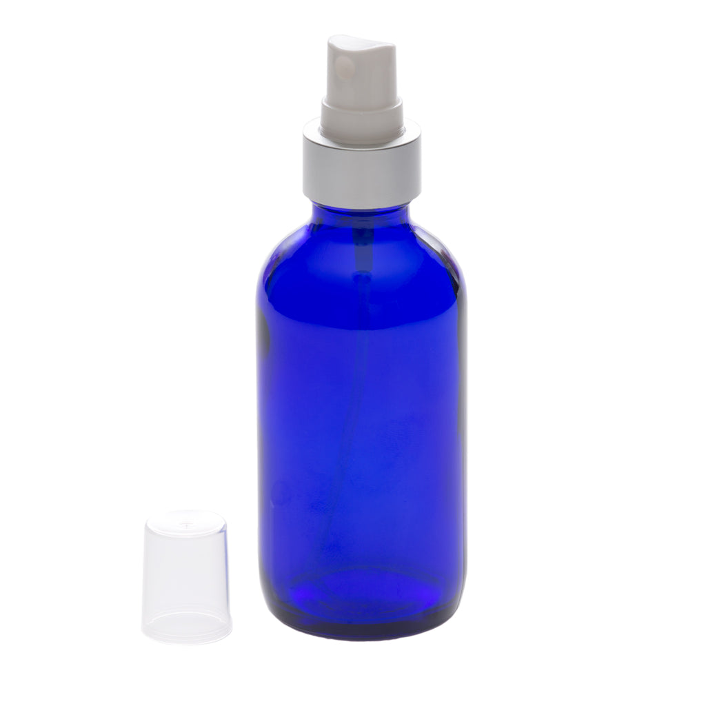 4 oz Blue Glass Bottle with 22-400 White Mister with Brushed Aluminum Shell