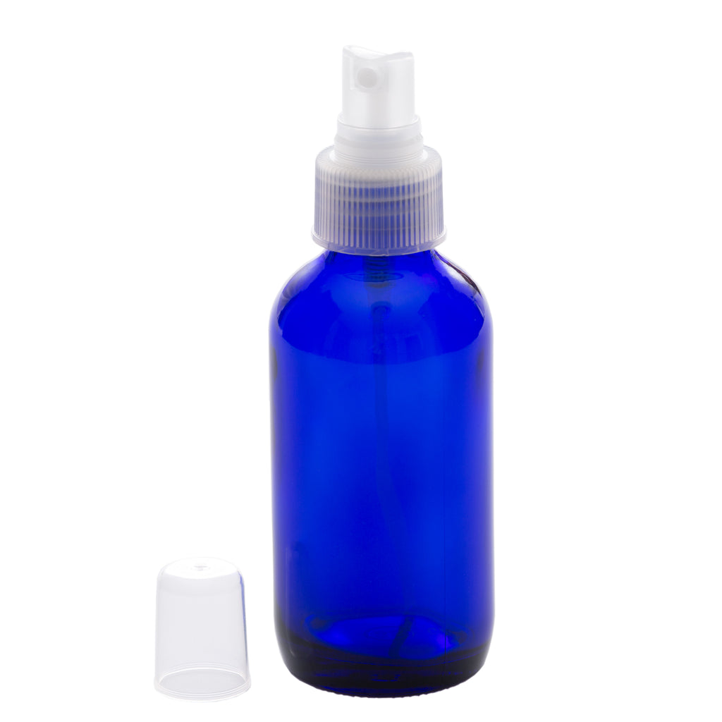 4 oz Blue Glass Bottle with 24-410 Natural Fine Mist Sprayer