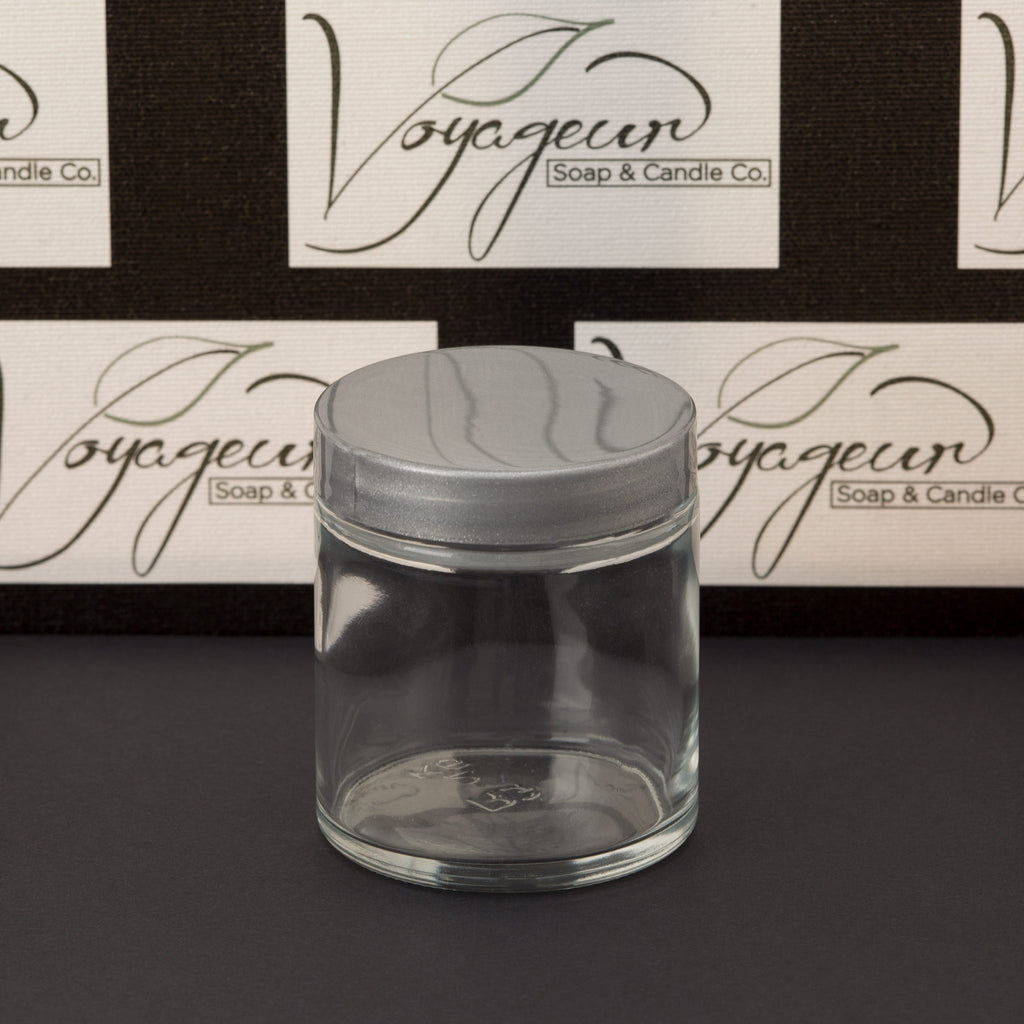 4 oz Clear Glass Jar with Silver Gloss Cap