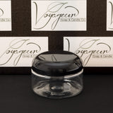 4 oz Clear Shallow Jar with Black Dome Cap
