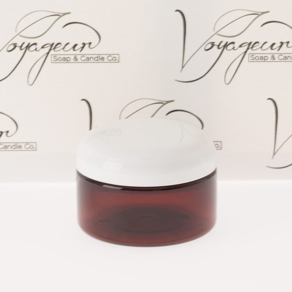 4 oz Amber Shallow Jar with White Dome Cap