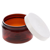 4 oz Amber Shallow Jar with White Flat Gloss Smooth Cap