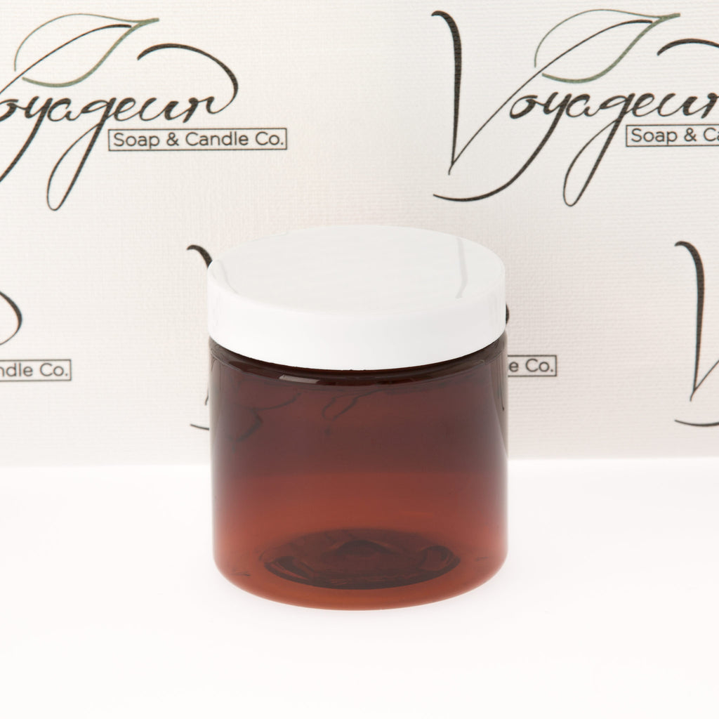 4 oz Amber Straight Sided Jar with White Flat Gloss Smooth Cap
