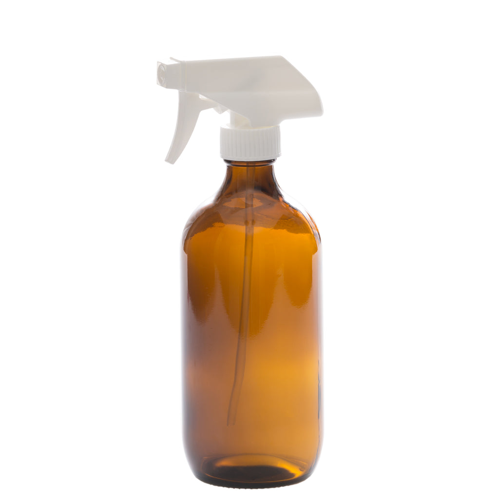 500 ml Amber Glass Bottle with 28-400 White Trigger Sprayer