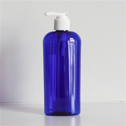 8 oz Blue PET Cosmo Oval with Pump - White