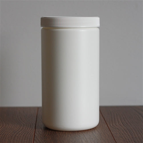 1 Litre White Single Wall Jar with White Ribbed Flat Cap
