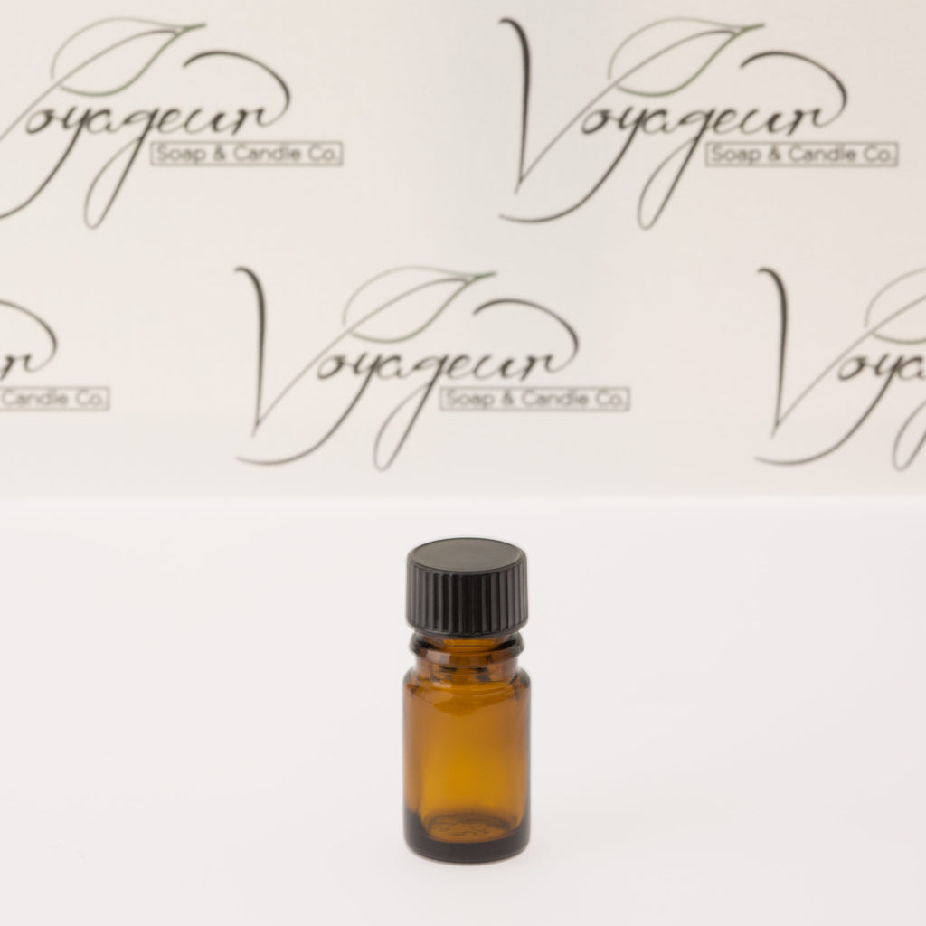 5 ml Amber Essential Oil Bottle with 18-400 Black Phenolic Cap