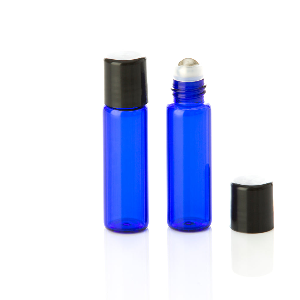 5 ml Blue Glass Rollerball Bottle with Black Cap
