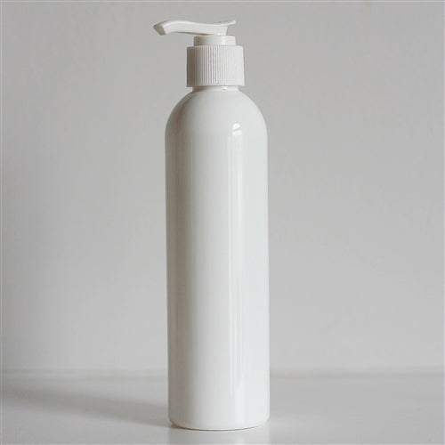 8 oz White Bullet Bottle with Pump - White