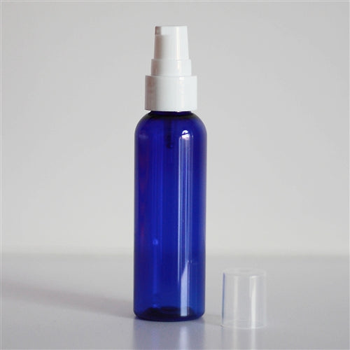2 oz Blue PET Bullet with Treatment Pump - White