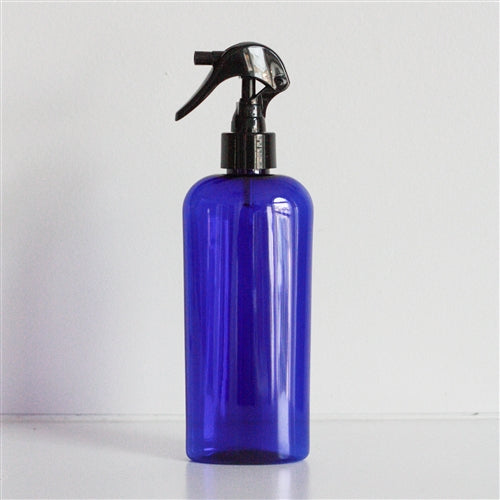8 oz Blue PET Cosmo Oval with Mini Trigger Sprayer - Black