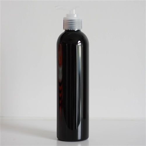 8 oz Black PET Bullet With Pump - Natural