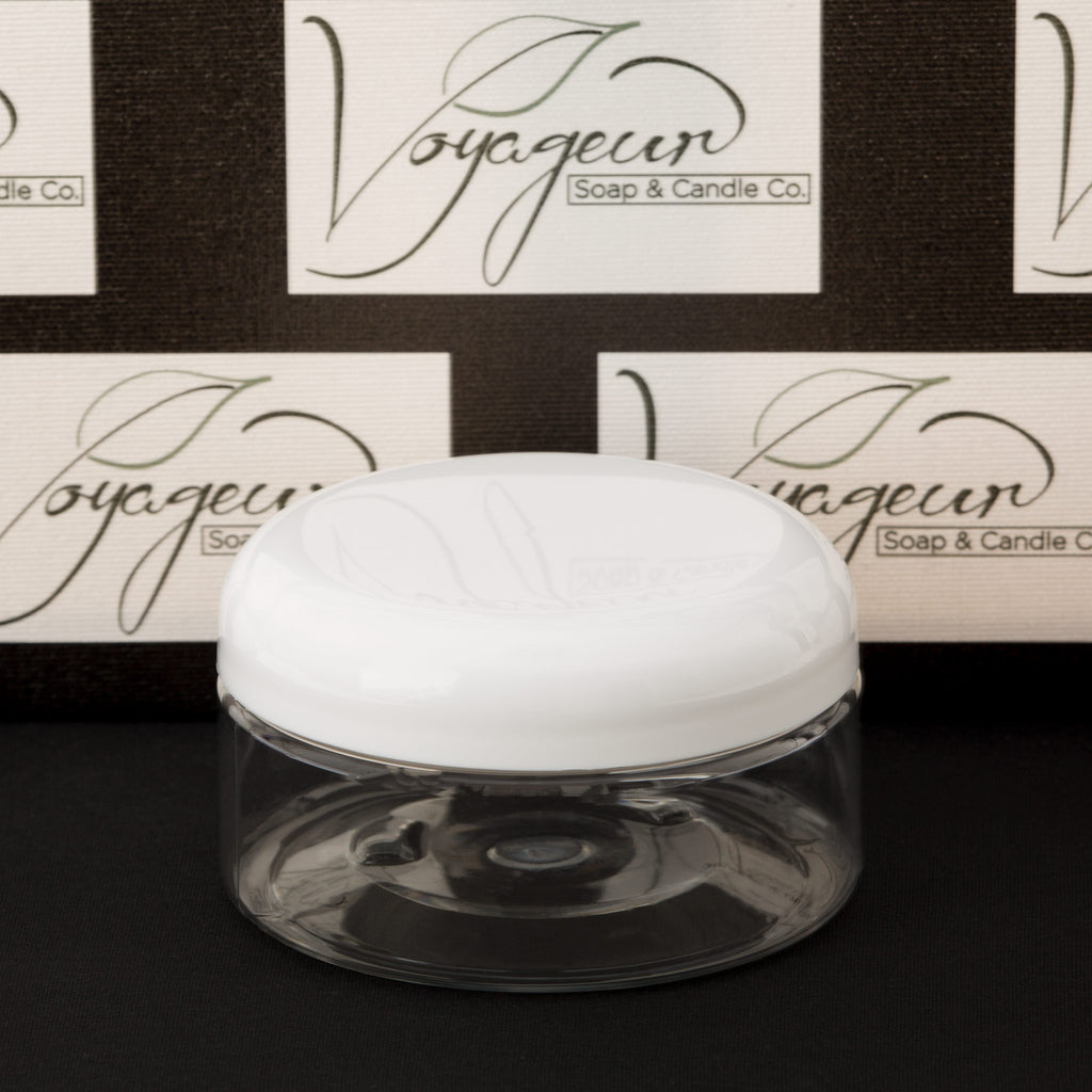 8 oz Clear Shallow Jar with White Dome Cap