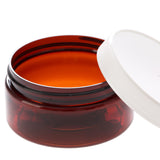 8 oz Amber Shallow Jar with White Ribbed Screw Cap