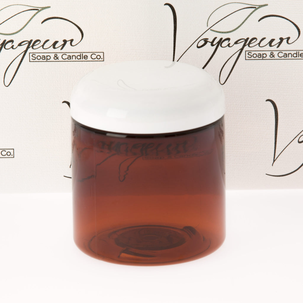 8 oz. Amber Straight Sided Jar with White Dome Cap