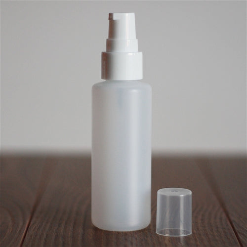 *60 ml Natural HDPE Cylinder with Treatment Pump - White