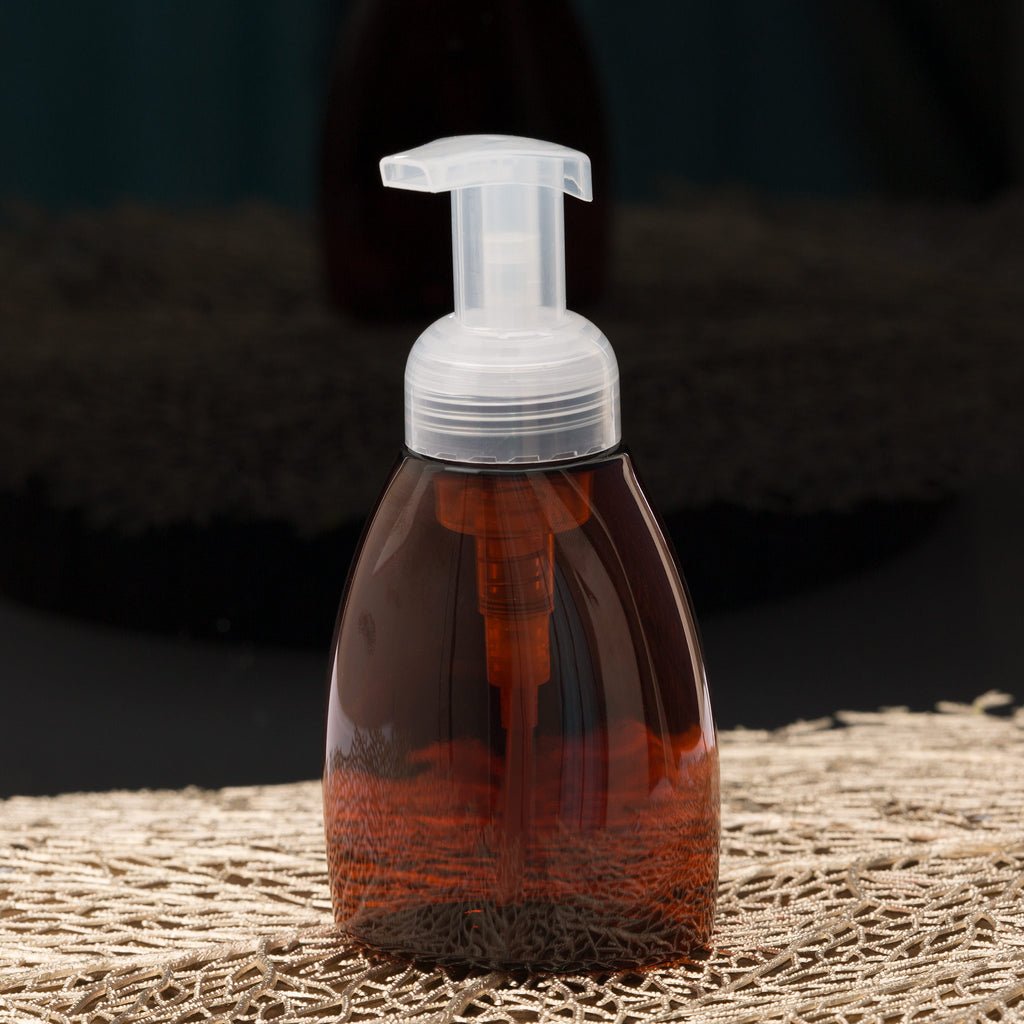 8.4 oz Amber Oval Foamer Bottle with Natural Pump
