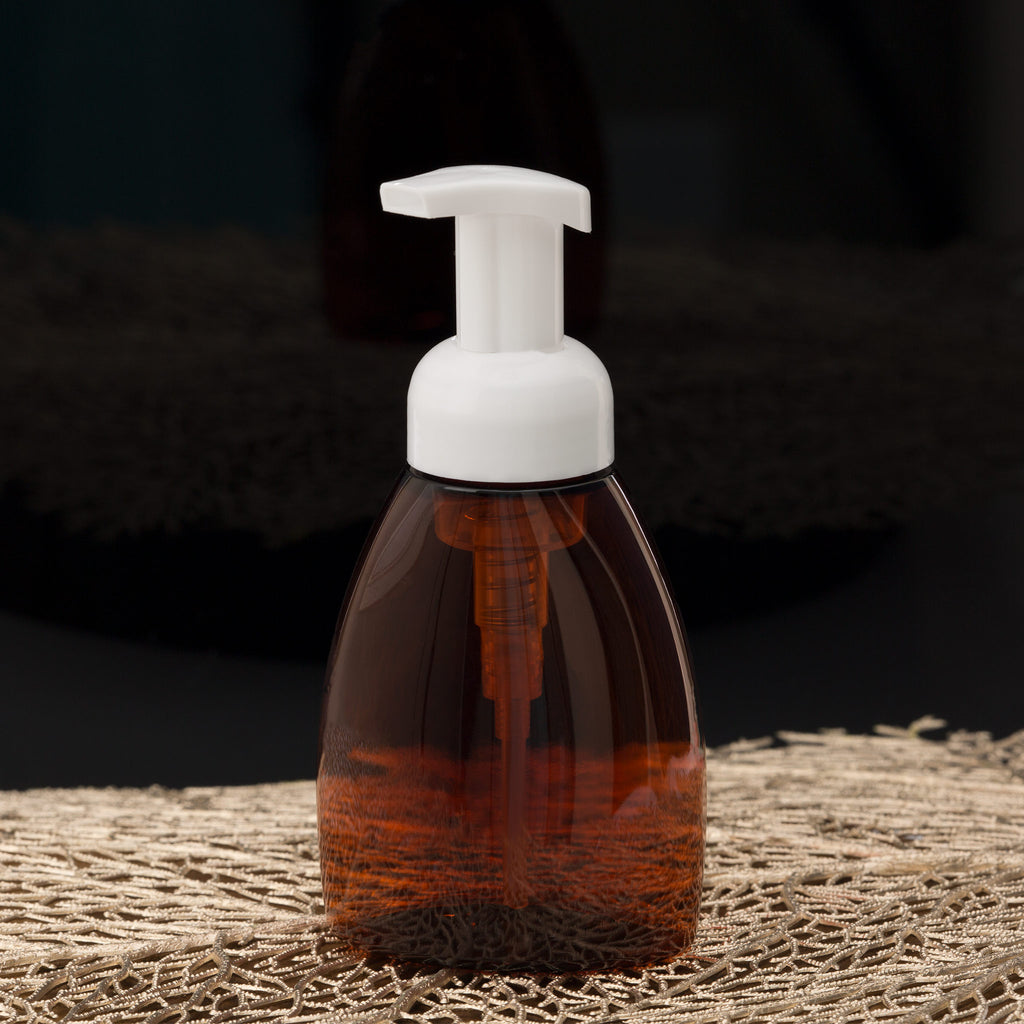 8.4 oz Amber Oval Foamer Bottle with White Pump
