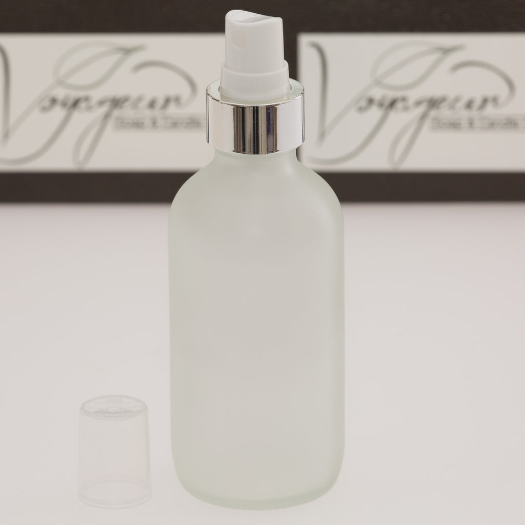 4 oz Frosted Glass Bottle with White Mister with Silver Shell