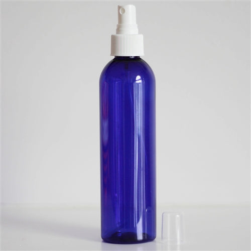 8 oz Blue PET Bullet with Mister - White