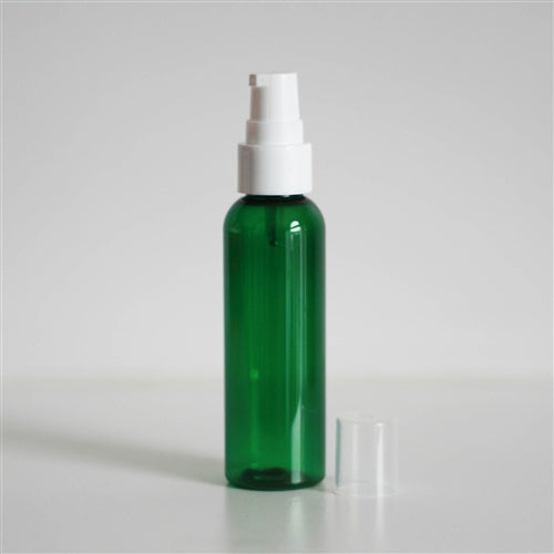 2 oz Green PET Bullet with Treatment Pump - White