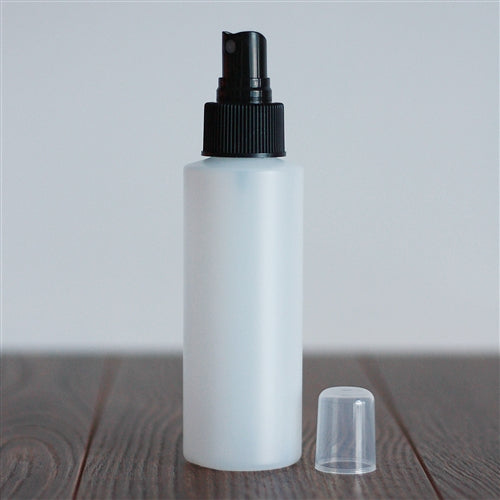 120 ml Natural HDPE Cylinder with Mister - Black