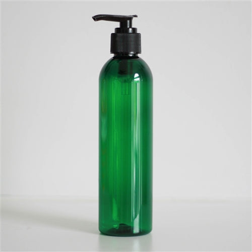8 oz Green PET Bullet with Pump - Black