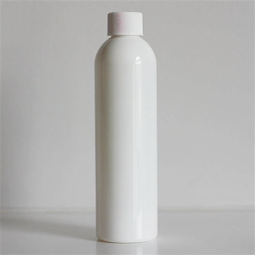 8 oz White Bullet Bottle with White Screw Cap