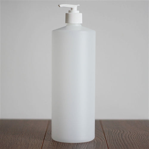 Natural HDPE Cylinder with Pump - White 1 Litre