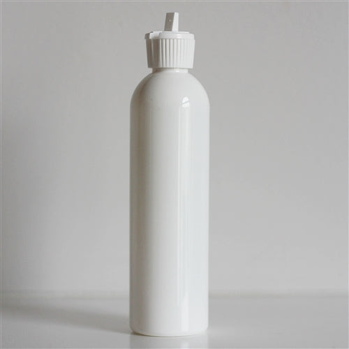 8 oz White Bullet Bottle with White Turret Dispensing Cap