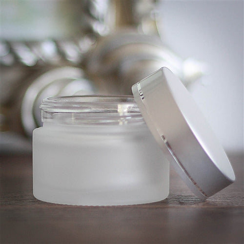 50 ml Frosted Glass Jar with Brushed Silver Cap