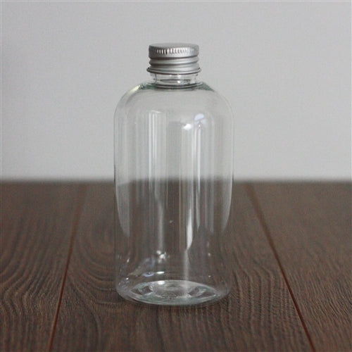 8 oz Clear PET Boston Round with Aluminum Cap