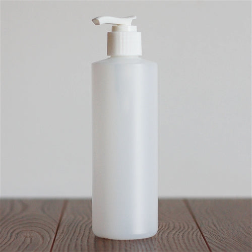 250 ml Natural HDPE Cylinder with Pump - White