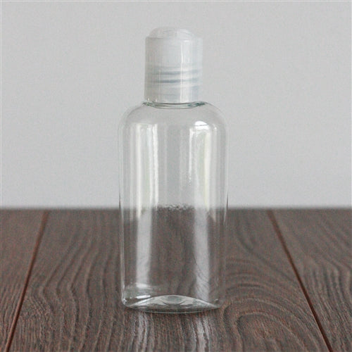 2 oz Clear PET Cosmo Oval with Disc Cap - Natural