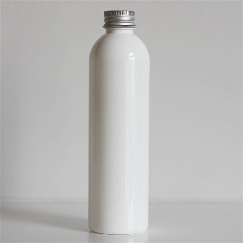 8 oz White Bullet Bottle with Aluminum Cap