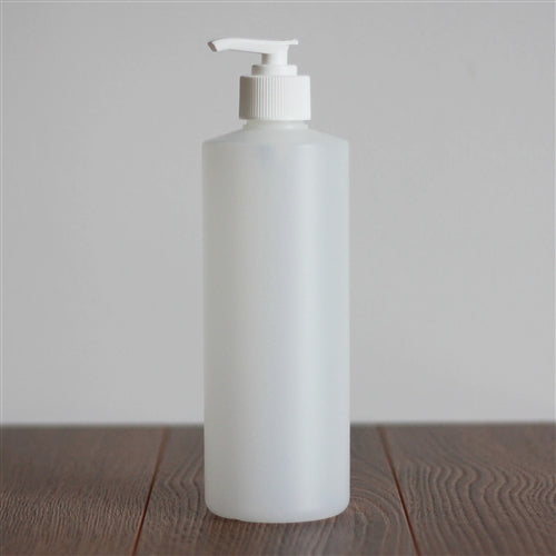 500 ml Natural HDPE Cylinder with Pump - White