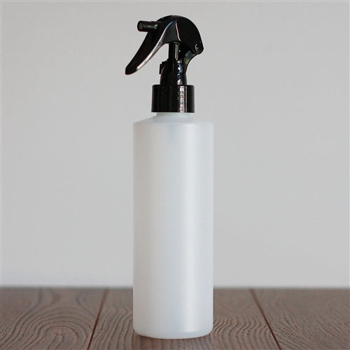 250 ml Natural HDPE Cylinder with Mini Trigger Mister - Black