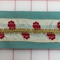 Metallic Ribbon - 2.125-inch Vintage Aqua with Red and Gold