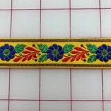 Non-Metallic Trim - 1-inch wide Vintage Golden Yellow Embroidered Ribbon Trim