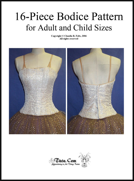 Bodice Pattern - Adult 16 Piece Longline Design By Claudia Folts