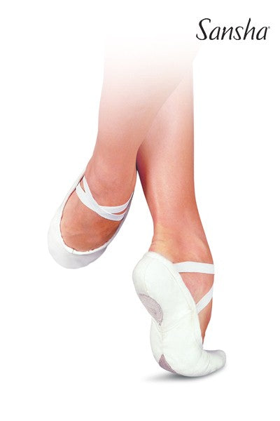Ballet Shoes - Sansha White Split-Sole #1C Close-Out