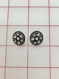 Button - Black with Crystal Rhinestones .5-inch 2-Pack