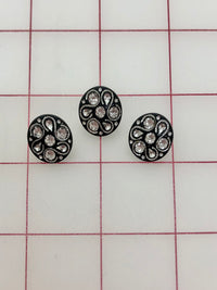 Button - Black with Crystal Rhinestones .5-inch 3-Pack